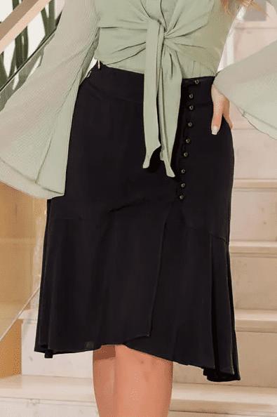 Saia Em Viscolinho C Botões - Moda Evangélica Kauly (3100 T)
