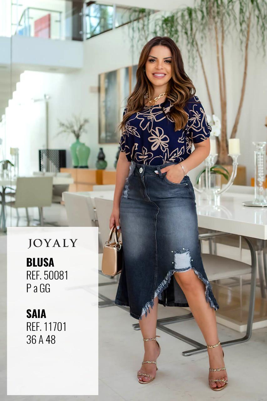 Saia Jeans Black Desfiados - Moda Evangélica Joyaly (11701 T)