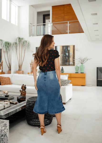 Saia Jeans Botões Decorativos - Moda Evangélica Joyaly (11759 E)