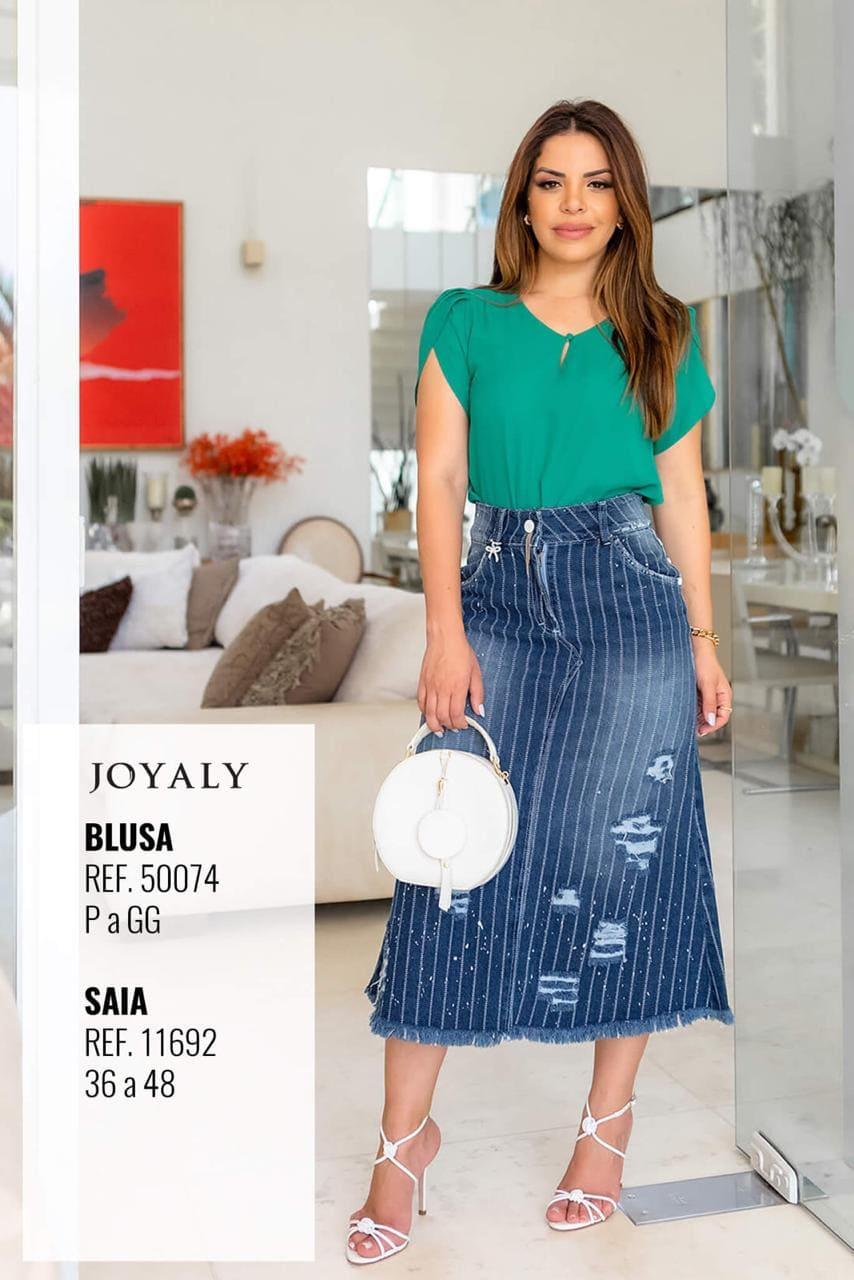 Saia Jeans C Barra Desfiada - Moda Evangélica Joyaly (11692 T)