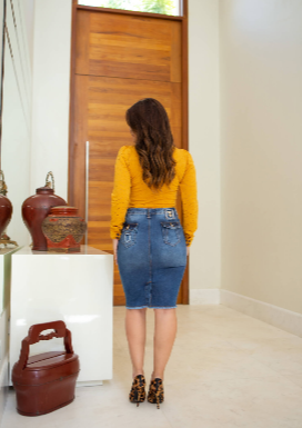 Saia Jeans Com Passante - Lançamento Joyaly (11479 T)