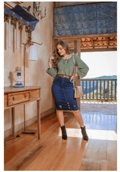 Saia Jeans Conforto C Cinto - Moda Evangélica Joyaly (11554 T)