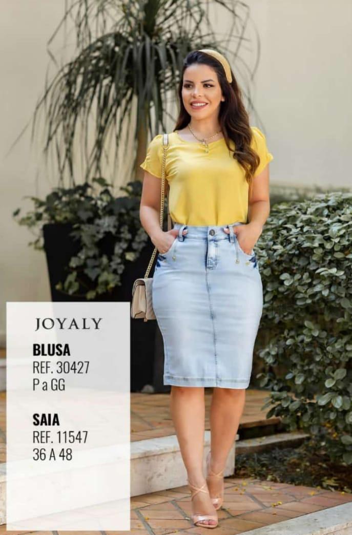Saia Jeans Conforto - Moda Evangélica Lançamento Joyaly (11547 T)