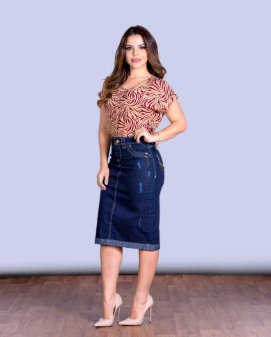Saia Jeans Dark - Moda Evangélica Lançamento Joyaly (11587 T)