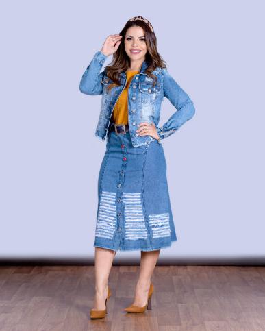 Saia Jeans Destroyed - Moda Evangélica Lançto Joyaly (11534 T)