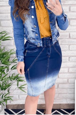 Saia Jeans Duplo Cos - Lançamento Joyaly (11467 T)