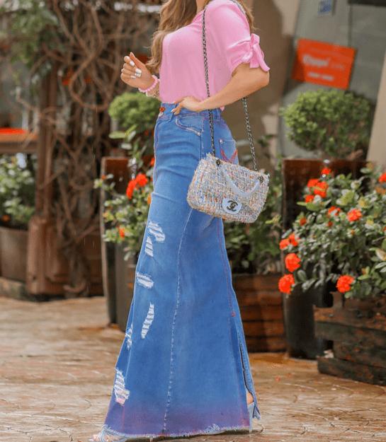 Saia Jeans Longa - Moda Evangélica Joyaly (11726 T)