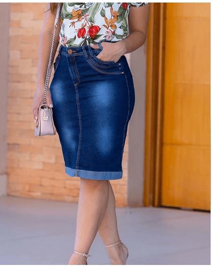Saia Jeans - Moda Evangélica Joyaly (11473 E)