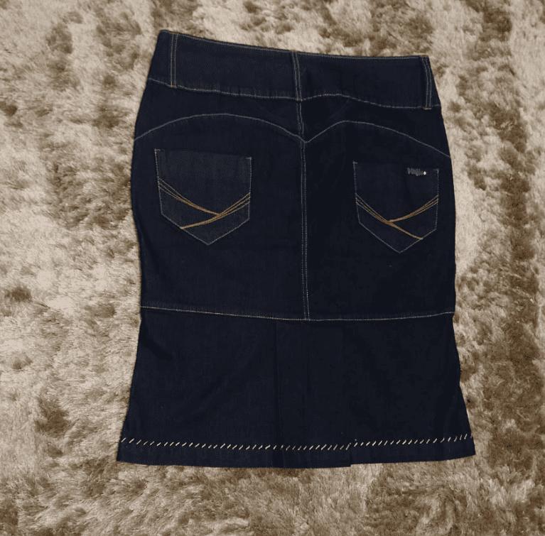 Saia Jeans Reta Bordado Mão - Viliju (564 E)