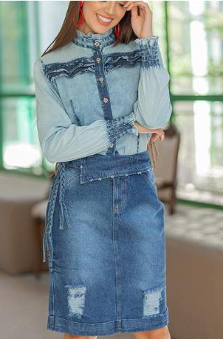 Saia Jeans Secretária - Lançamento Raje (18340 T)