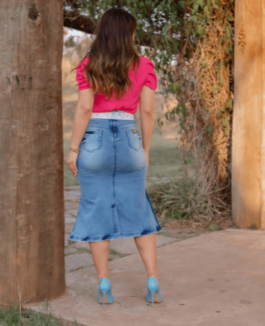 Saia Jeans Tie Dye - Moda Evangélica Joyaly (11723 T)