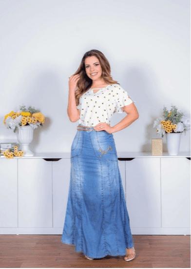 Saia Longa Jeans Com Cinto - Joyaly (10927 E)