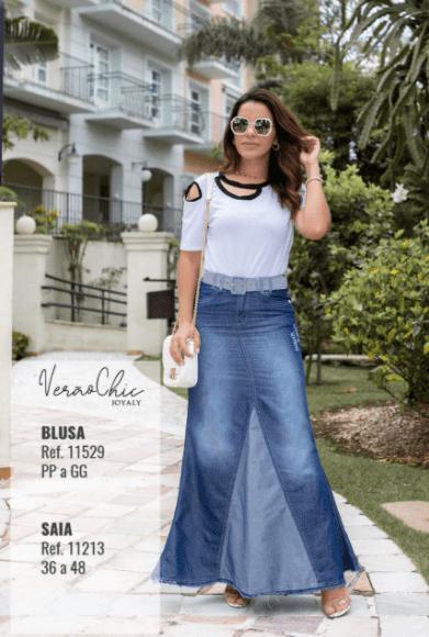 Saia Longa Jeans  - Moda Evangélica Joyaly (11213 E)
