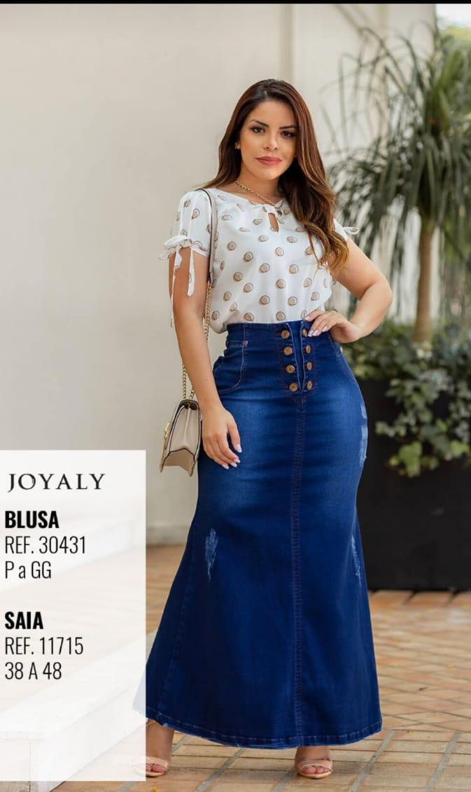Saia Longa Jeans - Moda Evangélica Lançamento Joyaly (11715 T)
