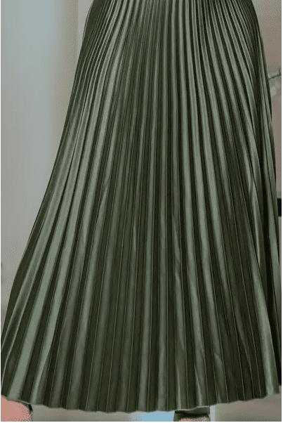 Saia Longa Plissada Crepe  - Moda Evangélica Kauly (3106-27 E)