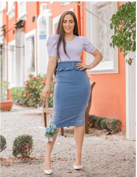 Saia Midi Jeans Com Cós - Moda Evangélica Raje (18900 E)