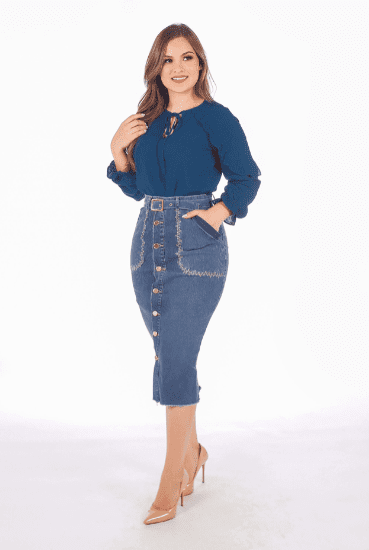Saia Midi Jeans Italy - Moda Evangélica Joyaly (11807 E)