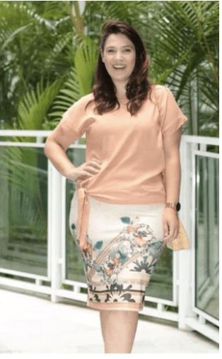 Saia Secretaria Estampada Com Barrado - Maria Amore (2917 E)