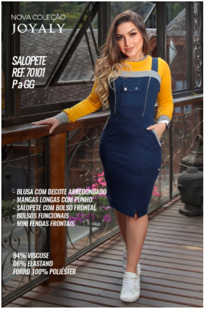 Salopete Com Blusa Conforto - Moda Evangélica Joyaly (70101 E)