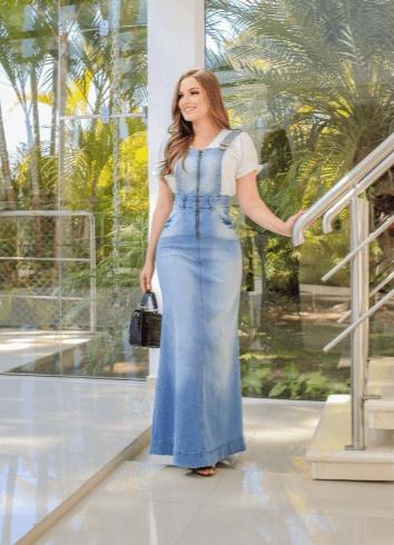 Salopete Longa Jeans - Moda Evangélica Joyaly (11530 T)