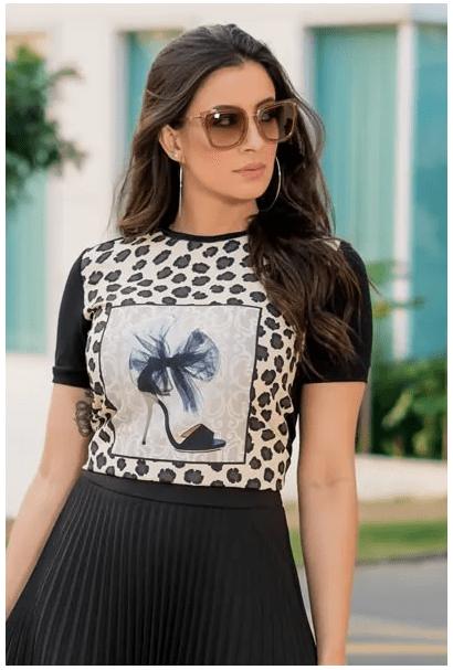 T-shirt Malha Estampada - Moda Evangélica Luciana Pais (92875 E)