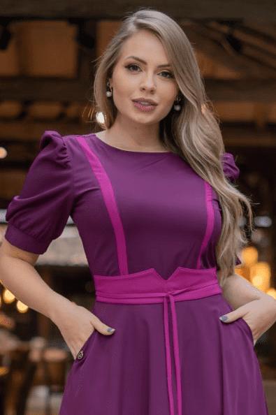Vestido Alfaiataria C Bolsos - Moda Evangélica Kauly (3188 E)