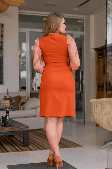 Vestido Alfaiataria C Cinto - Moda Evangélica Kauly (3095 E)