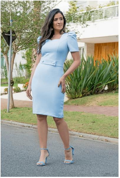 Vestido Alfaiataria Manga Princesa - Moda Evangélica Luciana Pais (92863 T)