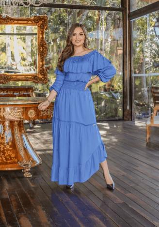 Vestido Barra Assimétrica - Moda Evangélica Joyaly (12004 E)