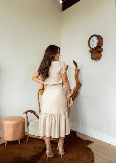 Vestido C Elastex Cintura - Moda Evangélica Joyaly (30977 E)
