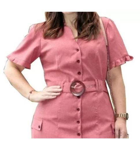 Vestido Chemisie Linho Plus Size Lançamento Kauly (2729)