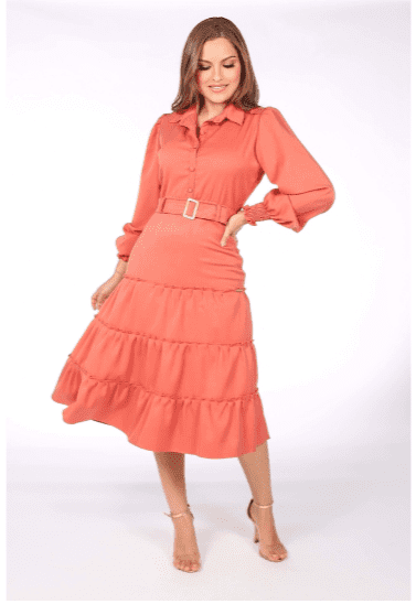 Vestido Chemisier Com Cinto - Moda Evangélica Joyaly (30957 T)