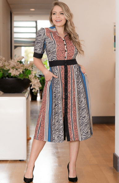 Vestido Chemisier Crepe Estampado - Moda Evangélica Kauly (3130 E)