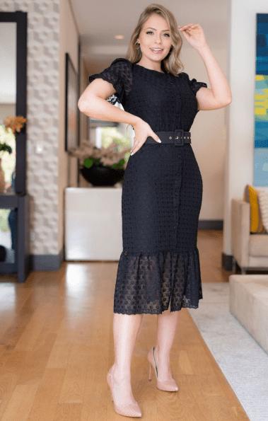 Vestido Chiffon Bordados C Cinto - Moda Evangélica (3133 E)