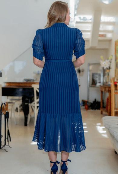 Vestido Chiffon C Cinto Faixa - Moda Evangélica Kauly (3175 T)