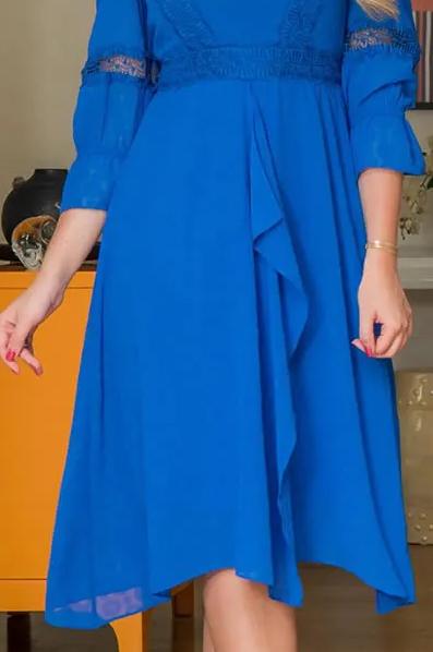 Vestido Chiffon Detalhes Renda - Moda Evangélica Kauly (2940 E)