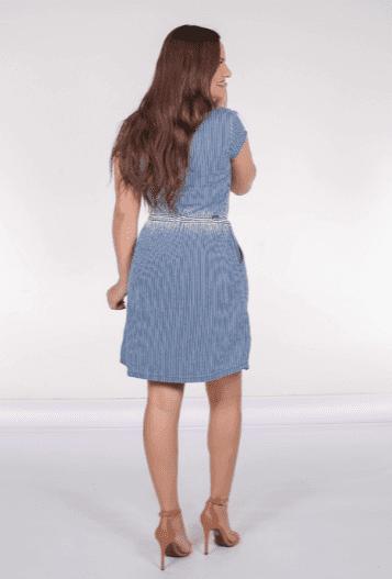 Vestido Com Listras - Moda Evangélica Joyaly (12138 T)