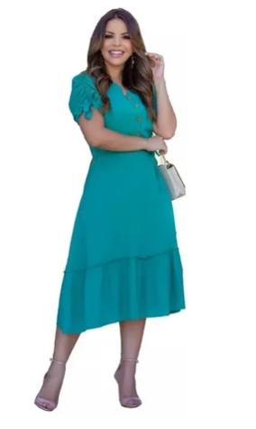 Vestido Com Manga Zara - Moda Evangélica Joyaly  (30556 E)