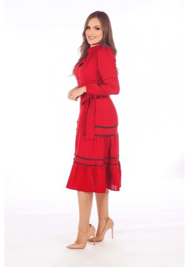 Vestido Com Viés E Cinto Faixa - Moda Evangélica Joyaly (31003 T)