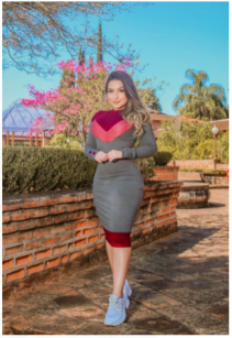Vestido Conforto Bicolor - Moda Evangélica Joyaly (70090  E)