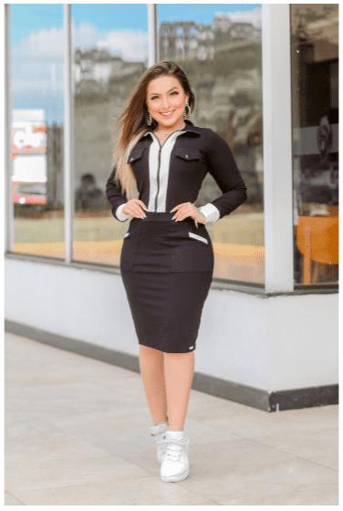 Vestido Conforto Bicolor - Moda Evangélica Joyaly (70067 T)
