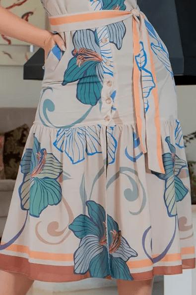 Vestido Crepe C Cinto Faixa - Moda Evangélica Kauly (3182 E)