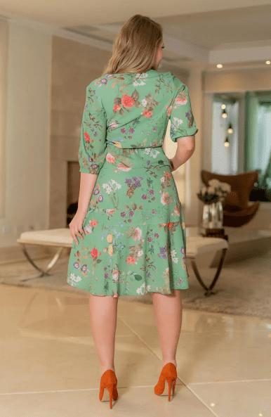 Vestido Crepe C Elastano - Moda Evangélica Kauly (3090 T)