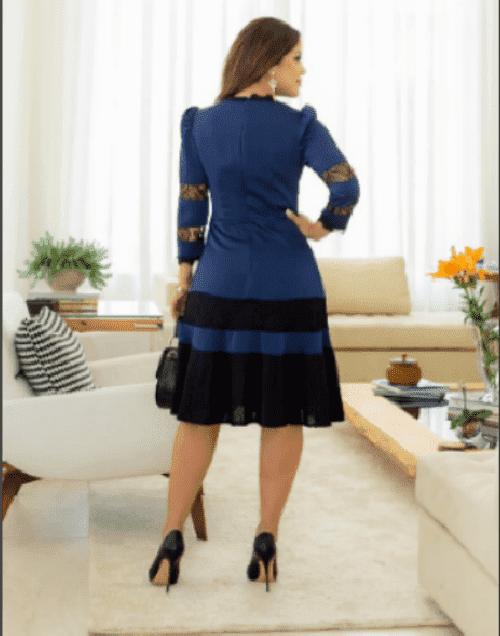 Vestido Crepe Cetim em Renda Chantilly - Kauly (2793 E)