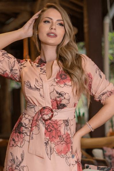 Vestido Crepe Cinto Fixo - Moda Evangélica Kauly (3209 T)