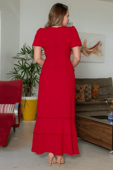 Vestido Crepe Cinto Laço - Moda Evangélica Kauly (3144 E)
