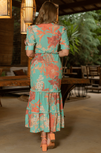 Vestido Crepe Elástico Cintura - Moda Evangélica Kauly  (3215 E)