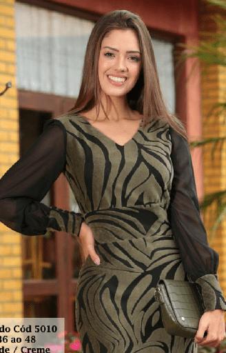 Vestido Crepe Em Veludo Alto Relevo - Moda Evangélica Cechiq (5010 E)