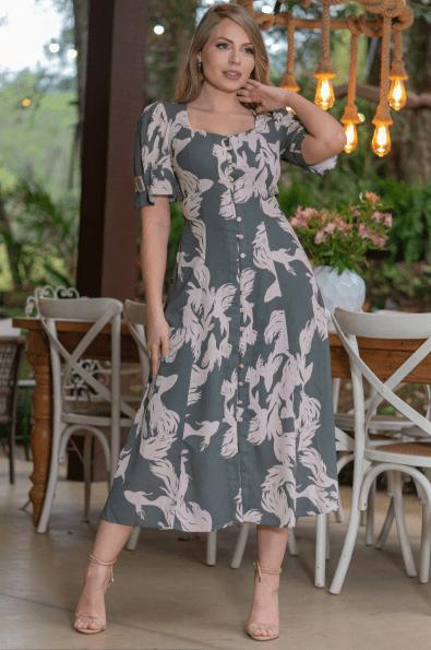 Vestido Crepe Estampado - Moda Evangélica Kauly (3197 T)