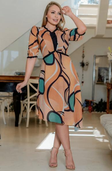 Vestido Crepe Estampado - Moda Evangélica Kayly (3150 E)